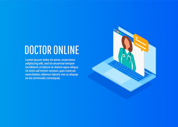 Concept de médecin en ligne isométrique