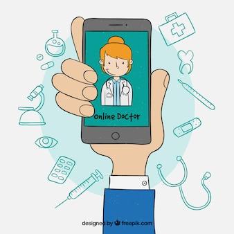 Concept de médecin en ligne avec la main tenant le smartphone