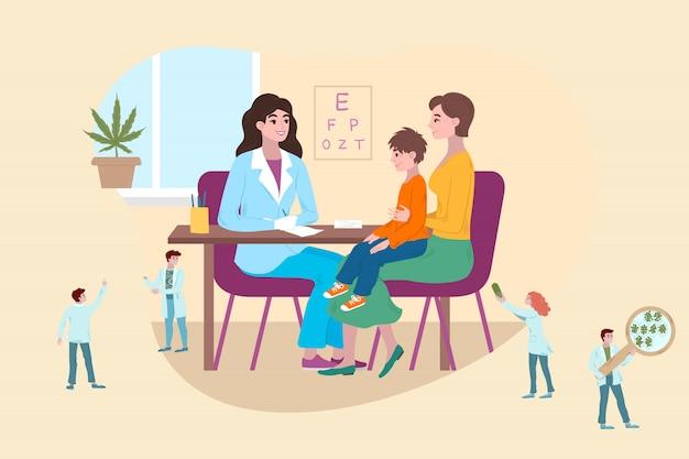 Concept de médecin pour enfants, petit patient avec la mère lors d'une consultation médicale, illustration de dessin animé de médecins minuscules.