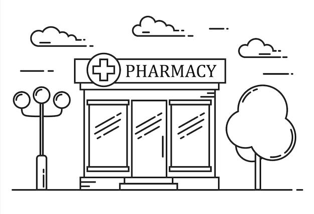 Concept de médecine de ligne de construction de pharmacie. illustration de contour.