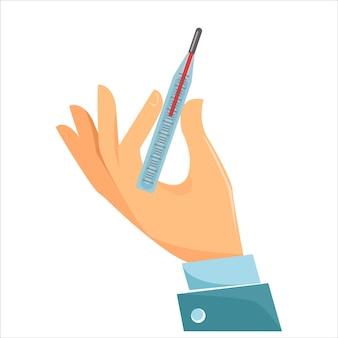 Le concept de médecine et de remède contre la maladie et le rhume une main tient un mercure