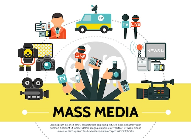 Concept de médias de masse plat