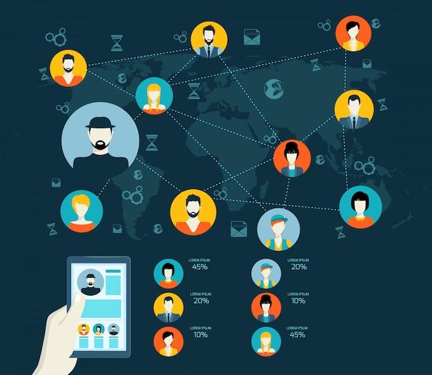 Concept de médias sociaux avec avatars et carte du monde