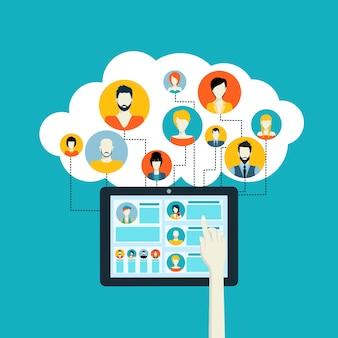 Concept de médias sociaux avec avatars