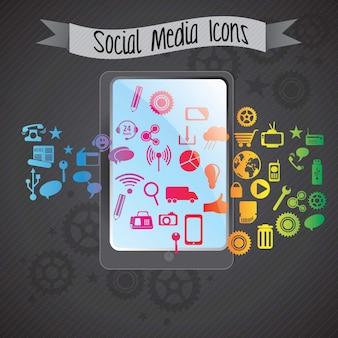 Concept de médias sociaux coloré avec smartphone (icônes définies) sur fond sombre