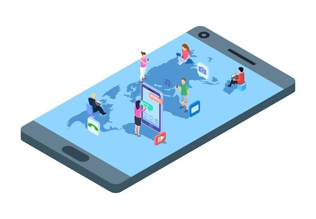 Concept de médias sociaux. gens isométriques avec téléphones, ordinateur portable sur la carte du monde. illustration vectorielle de communication mondiale. réseau de communication mondial, communauté de connexion utilise internet