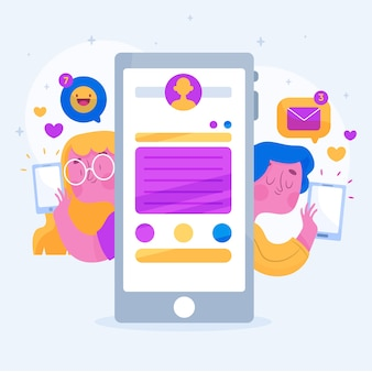 Concept de médias sociaux avec les gens et la technologie