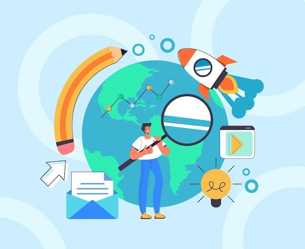 Concept de médias sociaux de gestion marketing global numérique seo.