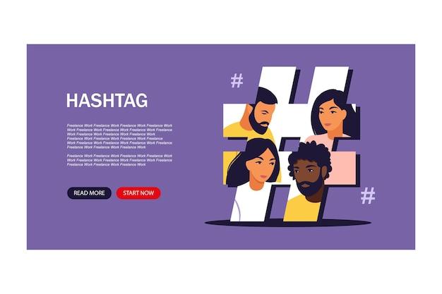 Concept de médias sociaux de hashtag. client jeune envoyant des messages et partageant. modèle de bannière. illustration. plat.