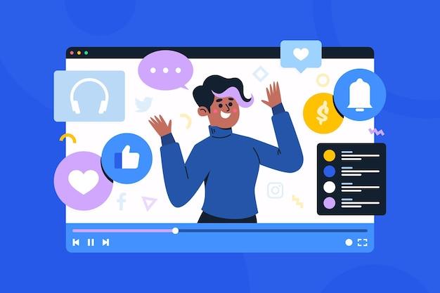 Concept de médias sociaux d'influenceur