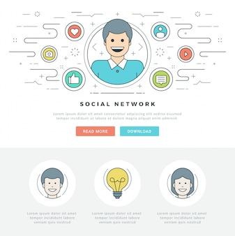 Concept de médias sociaux ligne plate et conception d'icônes de style de ligne.