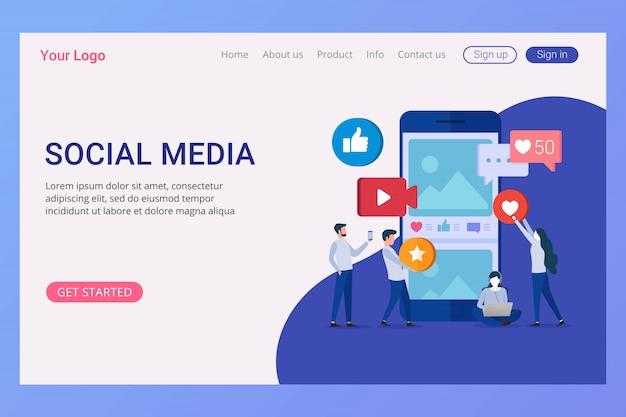 Concept de médias sociaux de modèle de page de destination