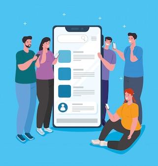 Concept de médias sociaux, personnes communiquant par smartphone