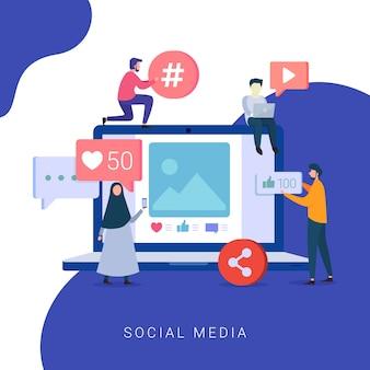 Concept de médias sociaux pour site web et site web mobile
