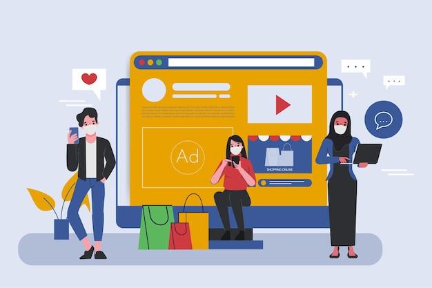 Concept de médias sociaux et shopping en ligne.