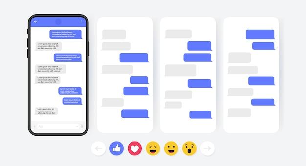 Concept de médias sociaux. téléphone intelligent avec écran de chat messager carrousel. bulles de modèle sms pour composer des dialogues. style d'illustration moderne.