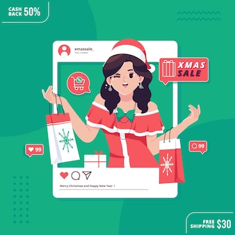 Concept de médias sociaux de vente de noël