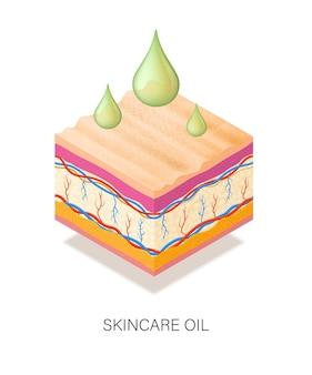 Concept médical avec des gouttes d'huile pour la peau.