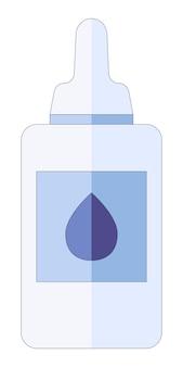 Concept médical gouttes nasales pour le rhume, la grippe, le médicament contre la toux tombe dans le nez dans un style plat