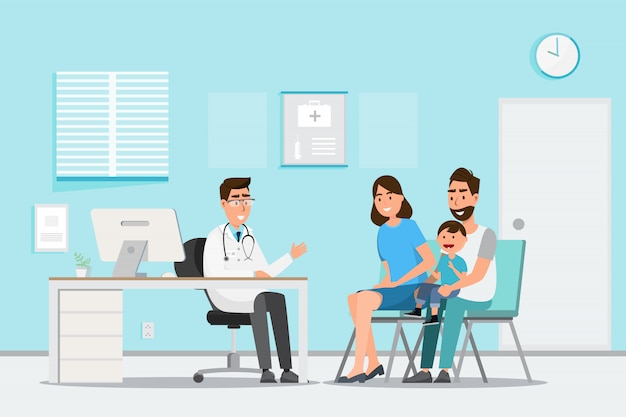 Concept médical avec médecin et patients en dessin animé plat sur le hall de l'hôpital