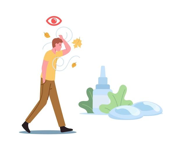 Des concept médical et pharmaceutique. caractère masculin marche en plein air souffrance du syndrome des yeux secs et de la maladie de la conjonctivite. traitement des problèmes de santé visuelle. illustration vectorielle de gens de dessin animé