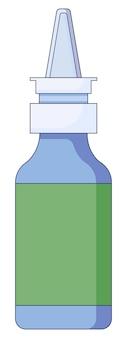 Concept médical spray nasal pour le rhume, la grippe, la toux, des sprays dans le nez dans un style plat