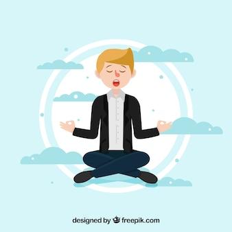Concept de méditation avec caractère plat