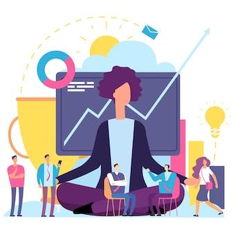 Concept de méditation. femme affaires, émotionnel, pleine conscience, méditer, travail, processus, vecteur, illustration