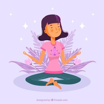 Concept de méditation avec femme dessiné à la main