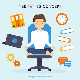 Concept de méditation avec homme d'affaires à plat