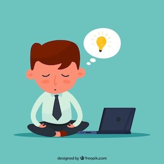 Concept de méditation avec homme d'affaires