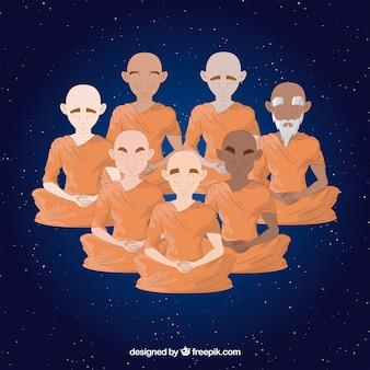 Concept de méditation avec des moines boudhistes