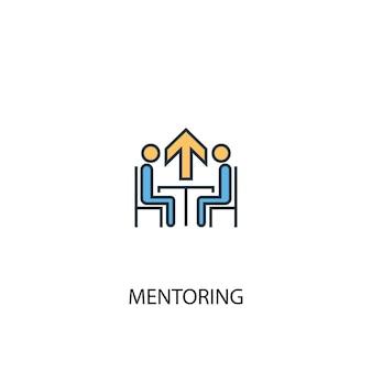 Concept de mentorat 2 icône de ligne de couleur. illustration simple d'élément jaune et bleu. conception de symbole de contour de concept de mentorat