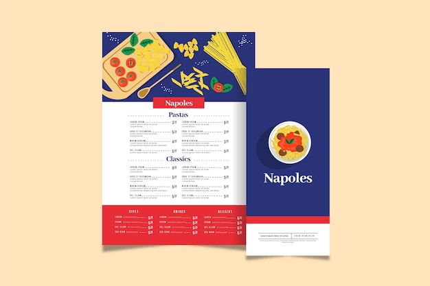 Concept de menu au design plat