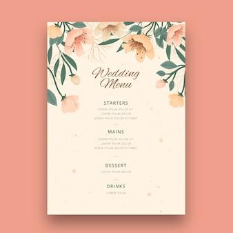 Concept de menu de mariage floral