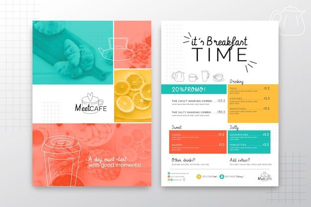 Concept de menu de restaurant de petit déjeuner
