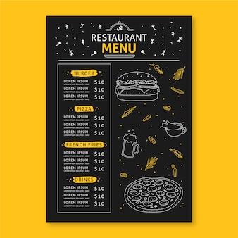 Concept de menu de restaurant pour modèle