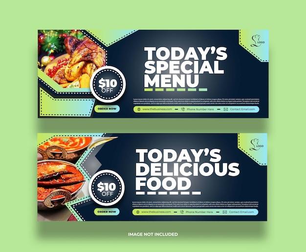 Concept de menu spécial nourriture restaurant délicieux bannière de médias sociaux