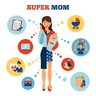 Concept de mère de femme d'affaires
