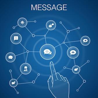 Concept de message, fond bleu.emoji, chatbot, discussion de groupe, icônes d'application de message