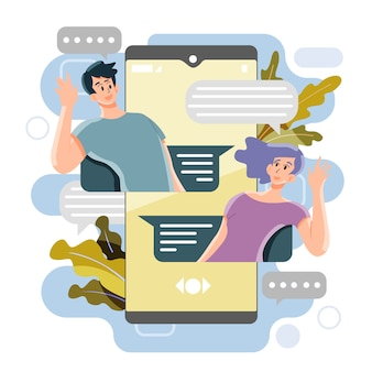 Concept de message de médias sociaux. discuter avec les gens. vecteur et illustration.