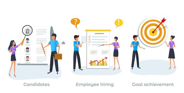 Concept de métaphore du processus de recrutement, service de l'emploi.
