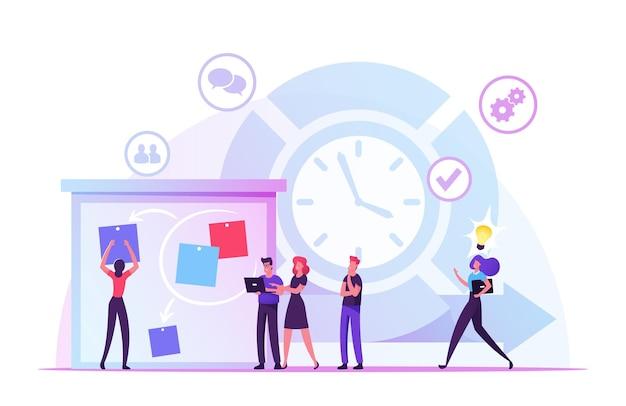 Concept de méthodologie de logiciel de développement agile. illustration plate de dessin animé