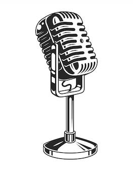 Concept de microphone de musique monochrome rétro