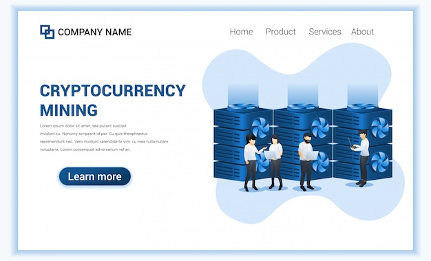 Concept de minage de crypto-monnaie avec des personnes minant des bitcoins sur ordinateur portable. monnaie numérique et trading.