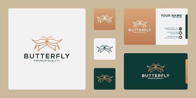 Concept minimaliste de conception de logo de papillon abstrait