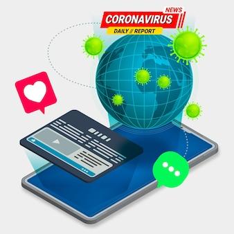 Concept De Mise à Jour Du Coronavirus Vecteur Premium