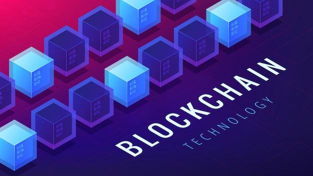 Concept de mise en réseau de crypto-monnaie blockchain isométrique.