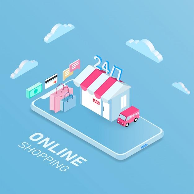 Concept mobile d'achats en ligne