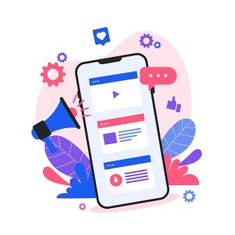 Concept mobile de marketing des médias sociaux